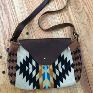 Aztec Pendleton wool & leather crossbody bag